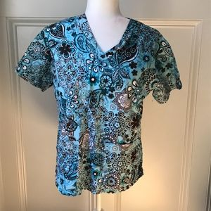 Med Couture Blue and Brown  Scrub Top Small